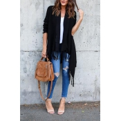Leisure Tassel Design Black Cotton Cardigans