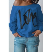 Lovely Leisure Round Neck Long Sleeves Letters Printing Royalblue Cotton Pullover