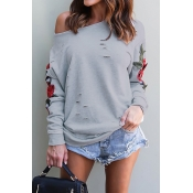 Watching Me Fall One Shoulder Roses Hoodie