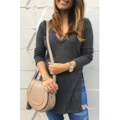 Leisure V Neck Side Split Grey Polyester Sweaters
