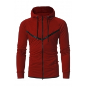 Stylish Long Sleeves Zipper Design Wine Red Cotton