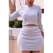 Trendy Round Neck Broken Holes White Cotton Blends Two-piece Skirt Set