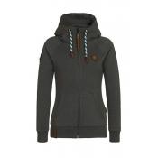 Casual Long Sleeves Zipper Design Dark Grey Cotton Hoodies Coat