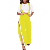 Trendy High Waist Patchwork Hollow-out Yellow Poly
