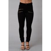 Stylish High Waist Zipper Design Black Denim Pants