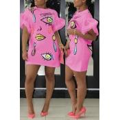 Euramerican Round Neck mangas curtas Printed Pink Polyester Sheath Mini Dress