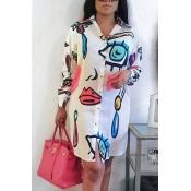 Модные отложным воротником печатных белый полиэстер Длина до колен платье