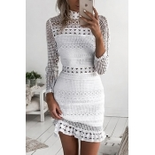 Lace Casual O neck Cap Sleeve Long Sleeve Sheath M