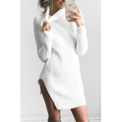 Polyester Casual Turtleneck Cap Sleeve Long Sleeve