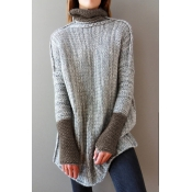 Lovely Trendy Turtleneck Long Sleeves Patchwork Gr