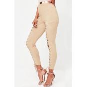 Polyester Solid Elastic Waist High Regular Pants P