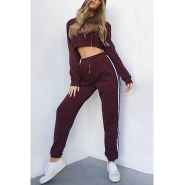 Leisure Hoode Collar Patchwork Wine Red Cotton Two-piece Pants Set