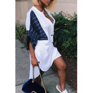 Casual V Neck Asymmetrical Blue+White Cotton Blend Knee Length Dress