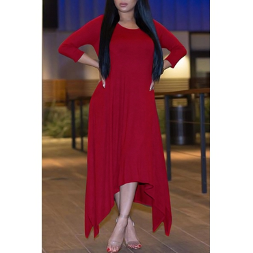 Leisure Round Neck Half Sleeve Asymmetrical Win Red Polyester Ankle Length Dress