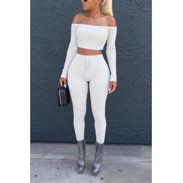 Euramerican Dew Shoulder White Cotton Two-piece Pants Set