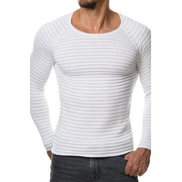 Pull en acrylique blanc à manches longues Euramerican à manches longues