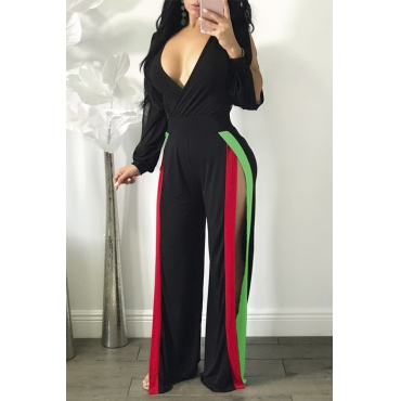 Sexy V Neck High Split Black Polyester One-piece Jumpsuits