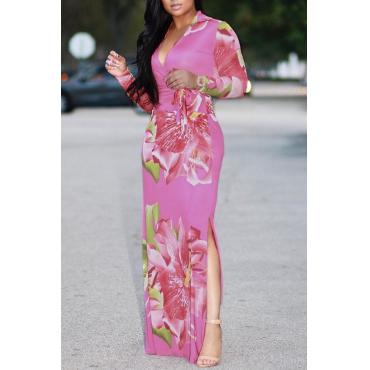 Trendy Floral Print Pink Milk Fiber Sheath Ankle Length Dress
