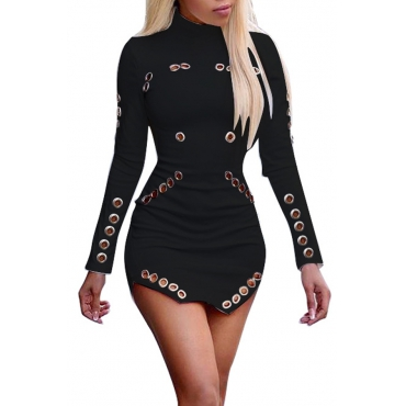 Trendy Round Neck Long Sleeves Hollow-out Black Healthy Fabric Sheath Mini Dress