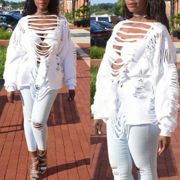 Sexy Round Neck Long Sleeves Hollow-out White Polyester Pullovers