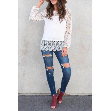 Stylish Round Neck Long Sleeves Lace Trim Patchwork White Polyester Shirts