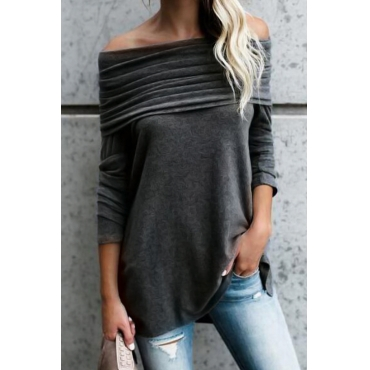 Lovely Off The Shoulder Solid Casual T-shirt