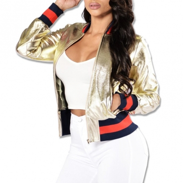 Stylish Mandarin Collar Long Sleeves Zipper Design Gold PU Jacket