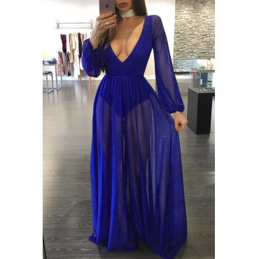 Sexy Deep V Neck See-Through Blue Polyester Floor length Dress(With Lining)