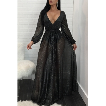 Sexy Deep V Neck See-Through Black Polyester Floor length Dress(With Lining)