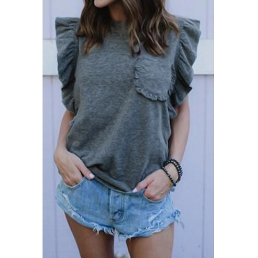 Sleeveless Ruffle Design T-shirt