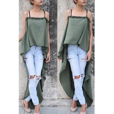 Stylish Asymmetrical Green Polyester Tank Top