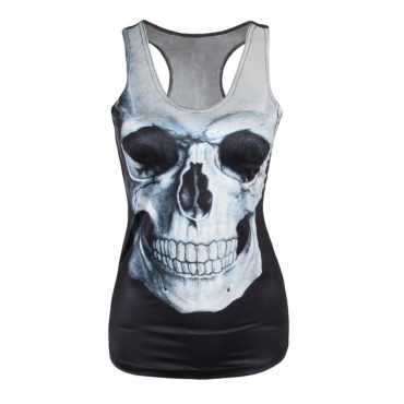 Leisure Round Neck Skull Printing Backless Black Polyester Tank Top