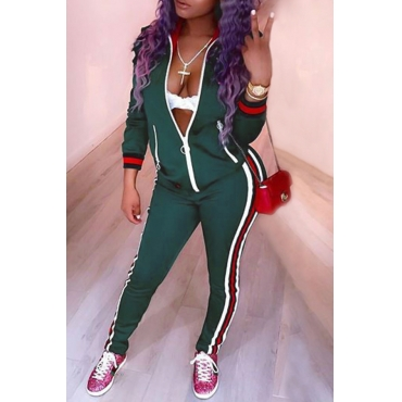 Leisure Turndown Collar Long Sleeves Zipper Design Green Cotton Two-piece Pants Set
