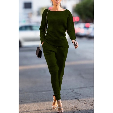 Green Cotton Pants Plain O neck Long Sleeve Casual Two Pieces