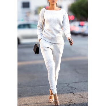 White Cotton Pants Plain O neck Long Sleeve Casual Two Pieces