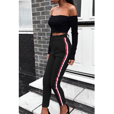 Polyester Solid Elastic Waist High Straight Pants Pants
