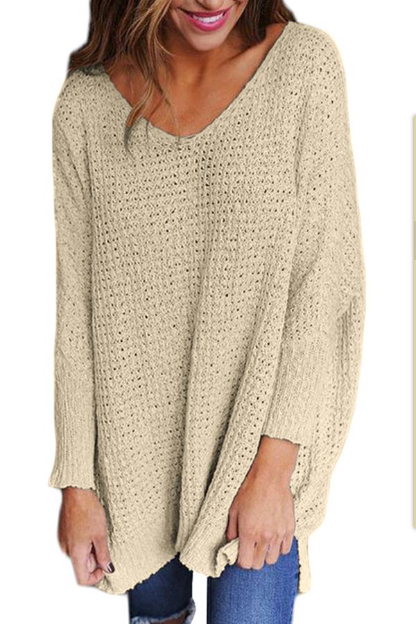 Lovely Blending V Neck Long Sleeve Regular Pullovers Sweaters & Cardigans