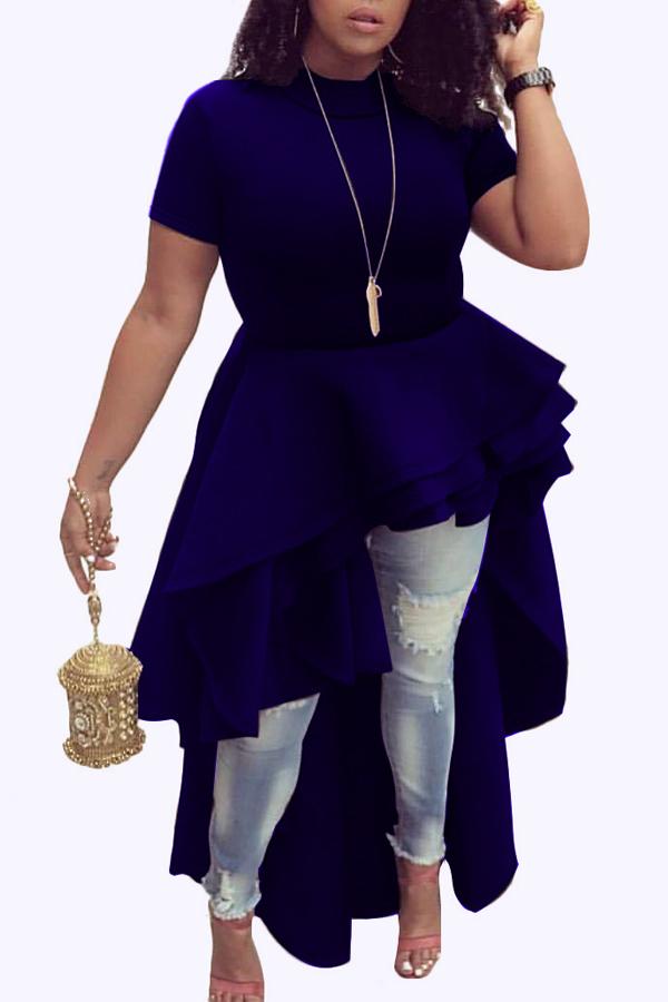 Stylish Mandarin Collar Asymmetrical Falbala Design Blue Polyester Mid Calf Dress Dresses <br><br>
