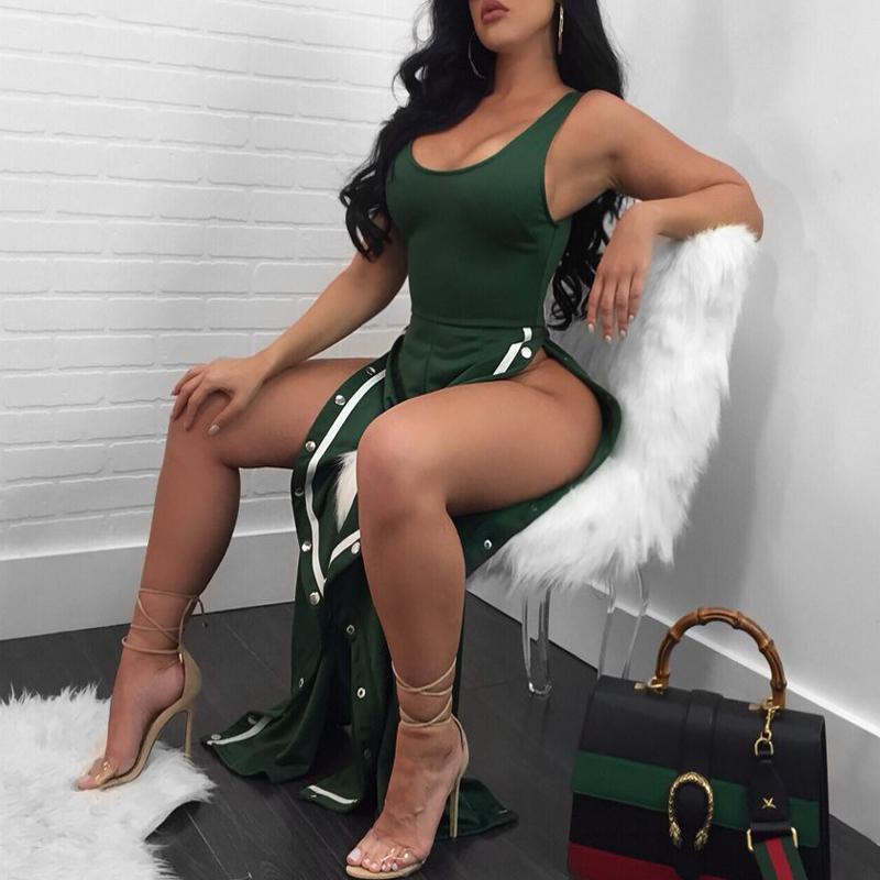 Сексуальная сторона Сплит Зеленый полиэстер цельный комбинезоны