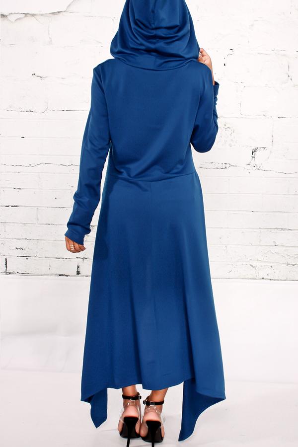 Pulôveres de manga comprida de manga comprida Pulôveres de misturas de algodão azul