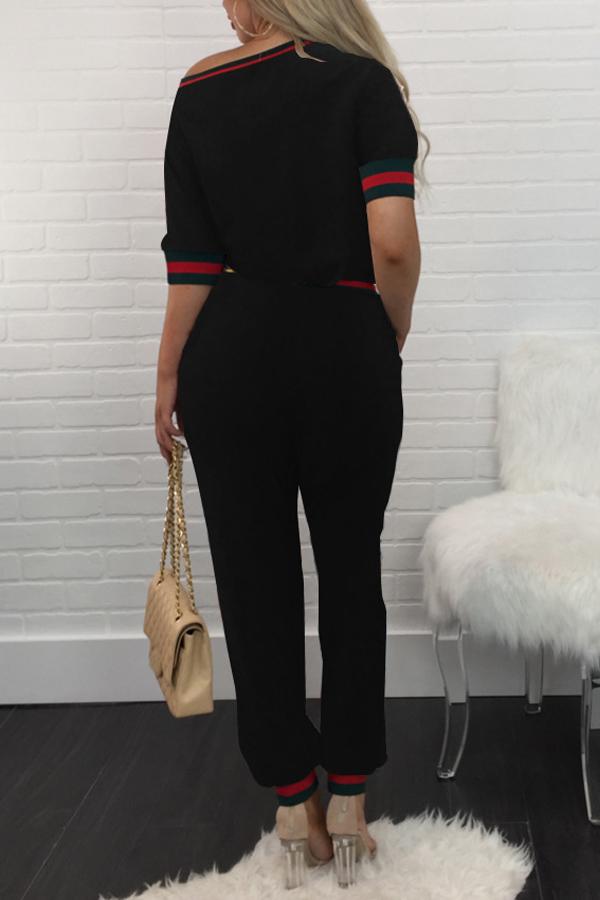 Ocio Cuello Redondo Patchwork Negro Tejido Dos Piezas Pantalones Set