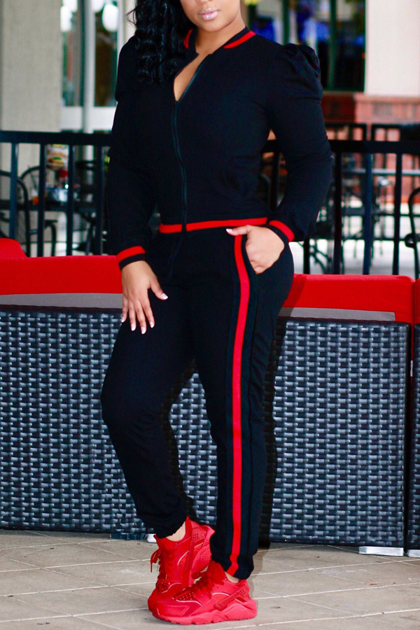 Leisure Round Neck Zipper Design Black Cotton Two-piece Pants Set