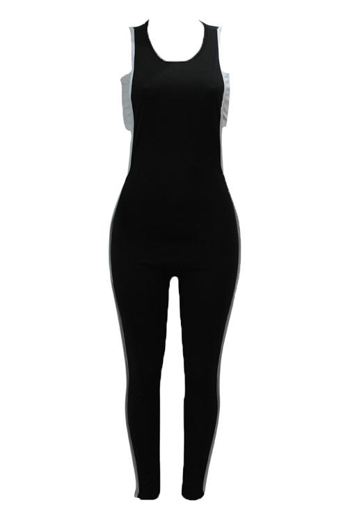Sexy Aushöhlen Schwarze Baumwolle Zweiteilige Hose Gesetzt