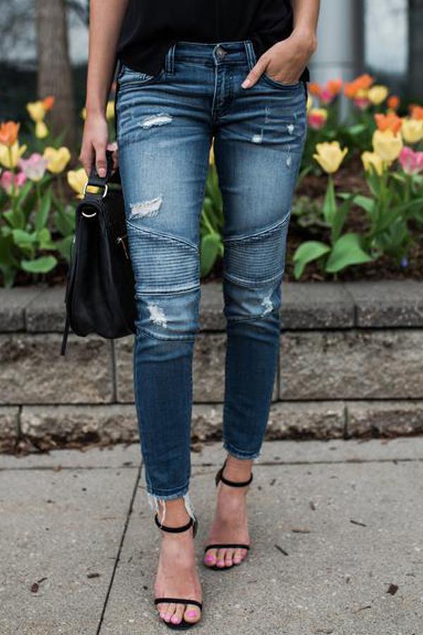 Pantalones De Mezclilla Azul Remiendo Euramerican