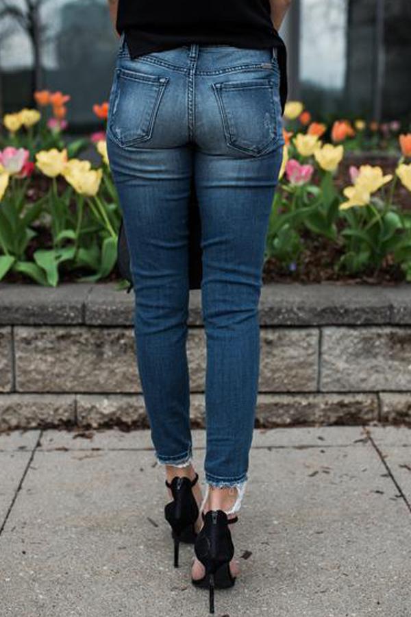 Lovely Euramerican Patchwork Blue Denim Pants