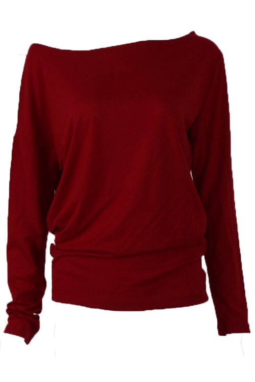 Leisure Dew Shoulder Wine Red Cotton Shirts