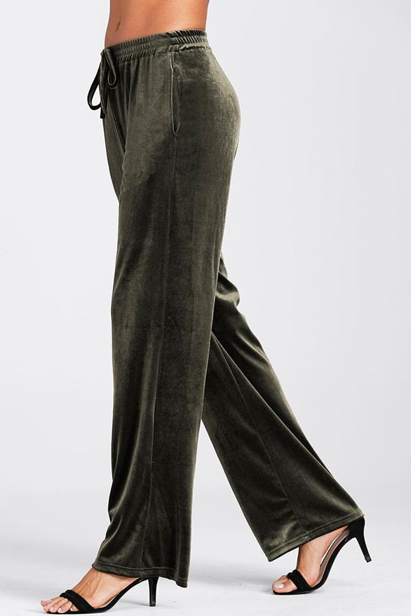 Euramerican Elastic Waist Army Green Pleuche Pants