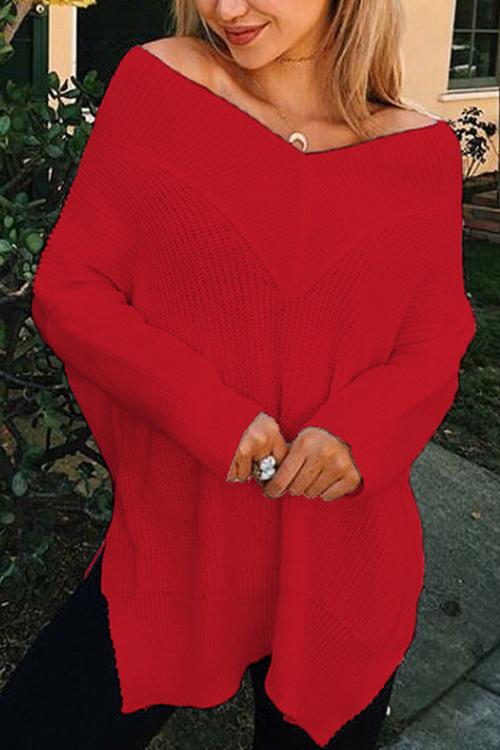 Freizeit V-Ausschnitt mit langen Ärmeln Seite Split Red Cotton Shirts