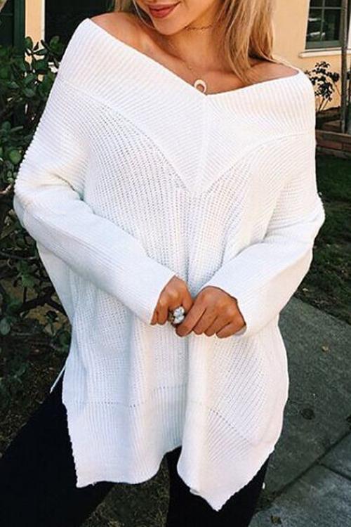 Freizeit V-Ausschnitt mit langen Ärmeln Seite Split White Cotton Shirts