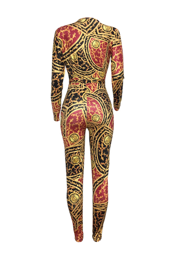 Sexy Deep V Neck Printed Yellow Polyester One-piece Jumpsuits